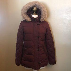 RL Polo Down Jacket-Maroon-Sz S-Hood With Faux Fur